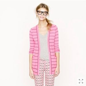 Classic Merino Long Cardi in pink and taupe stripe